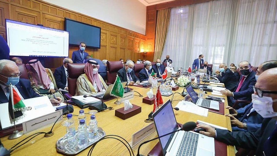 Saudi Arabia's Minister of Foreign Affairs Prince Faisal bin Farhan during a meeting with the Arab Ministerial Committee. (SPA)