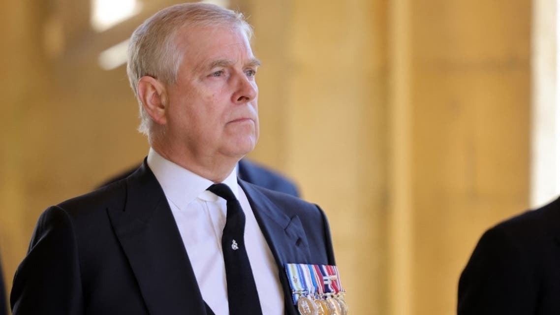 Britain's Prince Andrew, Duke of York, attends the ceremonial funeral procession of Britain's Prince Philip, Duke of Edinburgh to St George's Chapel in Windsor Castle in Windsor, west of London, on April 17, 2021. (AFP)