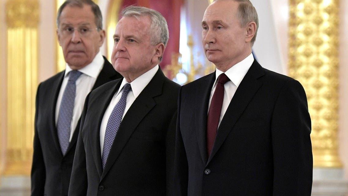 US Ambassador to Russia John Sullivan, Russian President Vladimir Putin and FM Sergei Lavrov at the Kremlin in Moscow, Feb. 5, 2020. (Reuters)