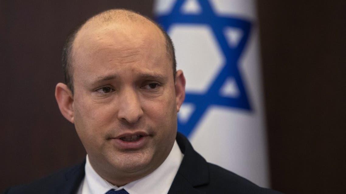 Israeli Prime Minister Naftali Bennett speaks during the weekly cabinet meeting at the prime minister's office in Jerusalem, on September 5, 2021. (AFP)