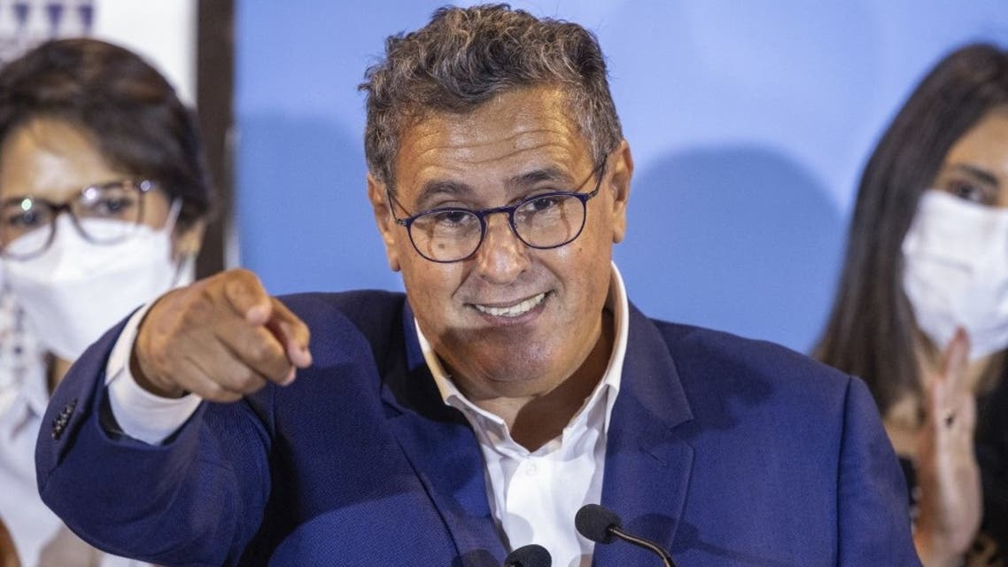 President of Morocco's National Rally of Independents (RNI) Aziz Akhannouch, takes questions during a press conference in the capital Rabat, after his party came in first in parliamentary and local elections, on September 9, 2021. (AFP)