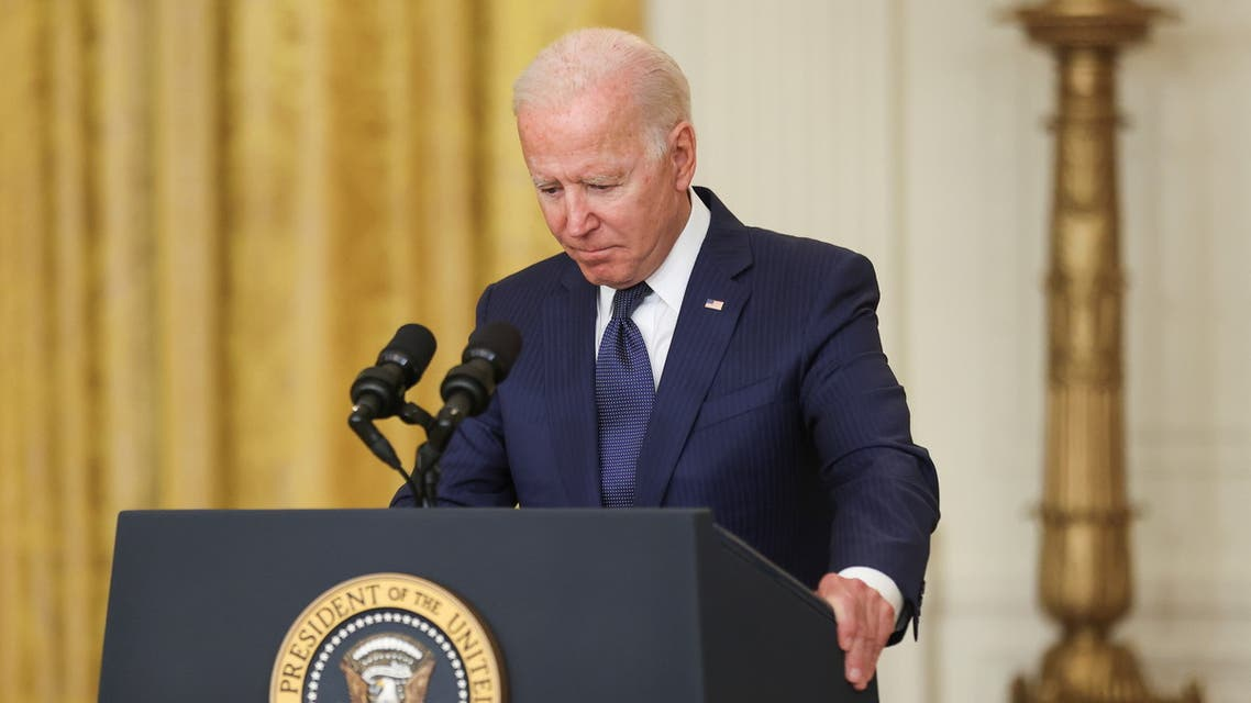 U.S. President Joe Biden looks down as he delivers remarks about Afghanistan, from the East Room of the White House in Washington, U.S. August 26, 2021. (Reuters)