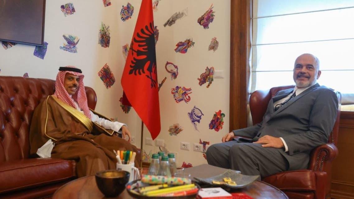 Saudi Arabia's Foreign Minister Prince Faisal bin Farhan met with Albania's Prime Minister Edi Rama in an official visit on September 11, 2021. (Twitter/FaisalbinFarhan)