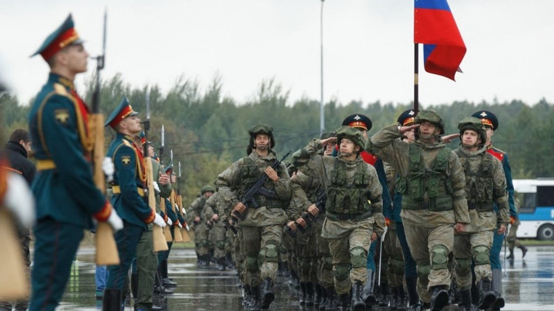 Russian servicemen march during the opening ceremony of the Zapad-2021 joint strategic exercise of the armed forces of the Russian Federation and the Republic of Belarus at the Mulino training ground in the Nizhny Novgorod region on September 9, 2021. (AFP)