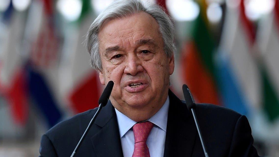 Secretary-General of the United Nations Antonio Guterres addresses the media in Brussels, Belgium June 24, 2021. (Reuters)