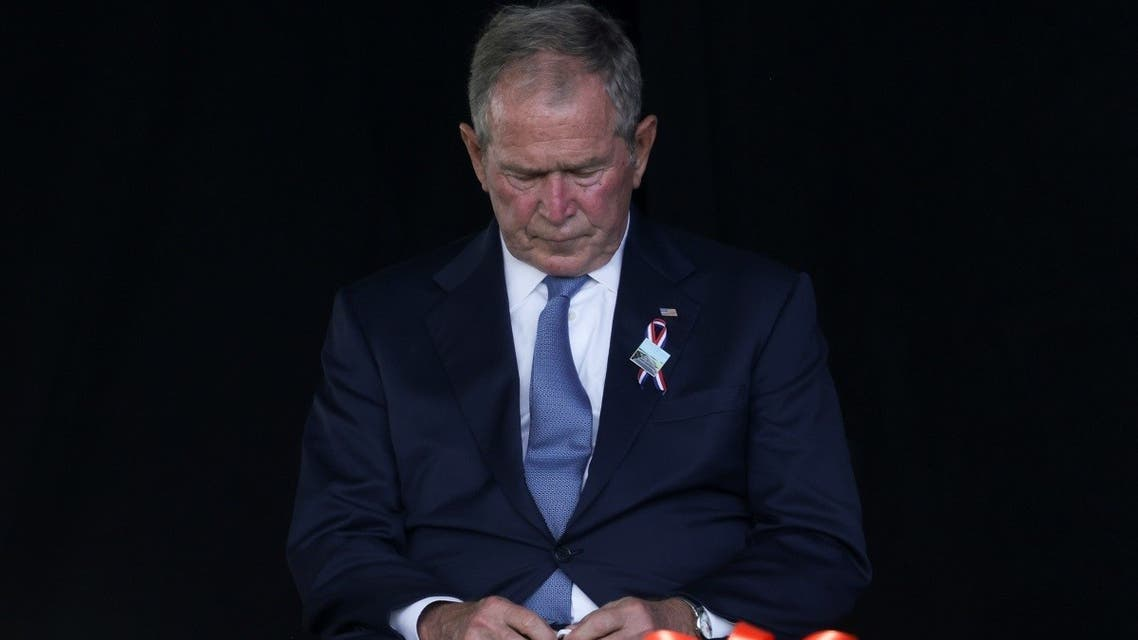 Former US President George W. Bush attends an event commemorating the 20th anniversary of the September 11, 2001 attacks at the Flight 93 National Memorial in Stoystown, Pennsylvania, US. (Reuters)