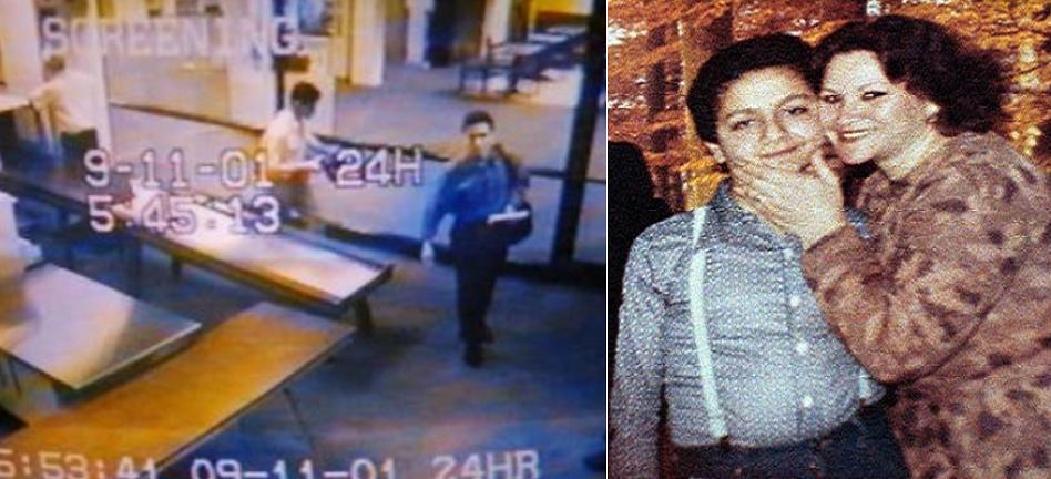 صورة للأم وابنها من زمن بعيد، وثانية وهو في مطار بورتلاند الدولي، يمضي صباح يوم 11 سبتمبر لركوب الطائرة التي خطفها، وغيّر  بها العالم