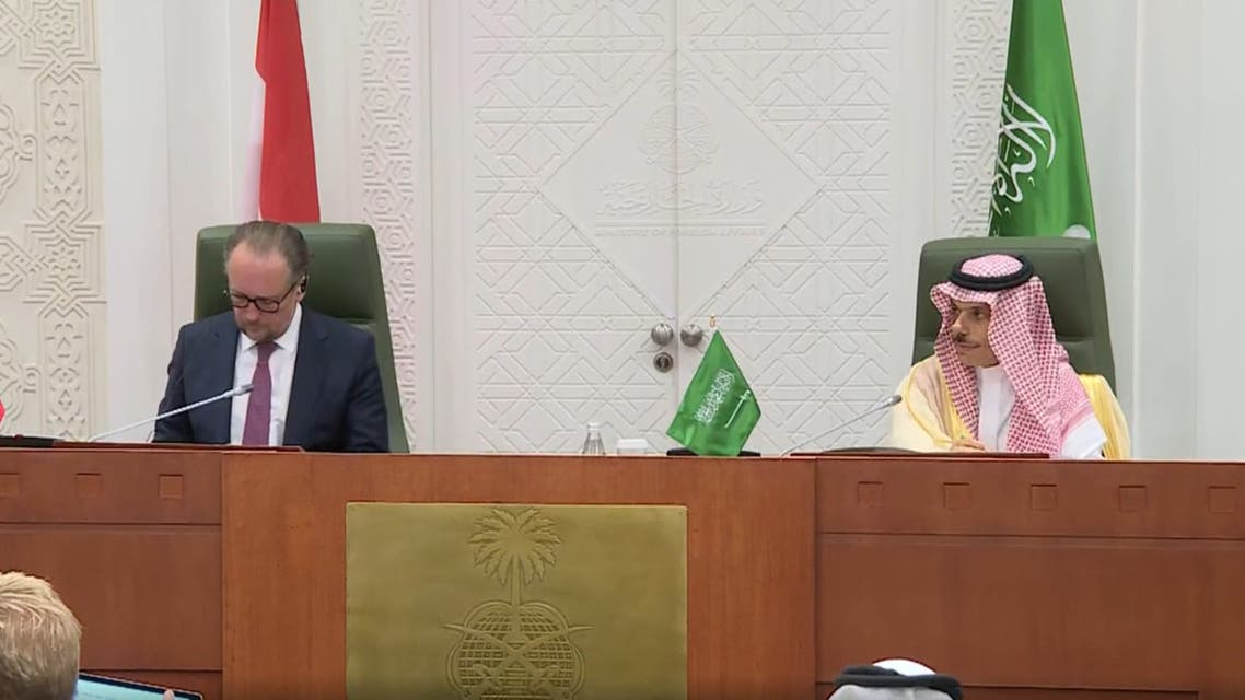 Saudi Arabia's Foreign Minister Prince Faisal bin Farhan in a press conference with his Austrian counterpart Alexander Schallenberg. (Screengrab)