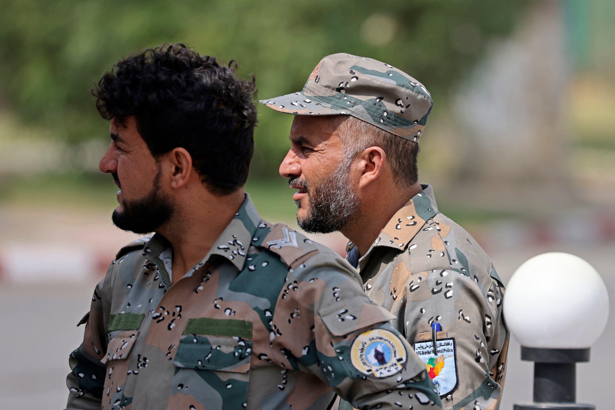 Afghan police members near Kabul airport (AFP)