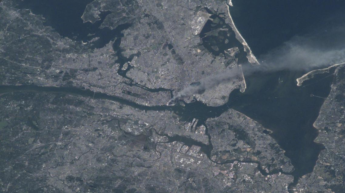 صورة نشرتها وكالة سانا لتصاعد الدخان عقب هجمات 11 سبتمبر
