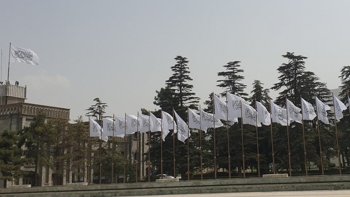 The Taliban flags raised in Afghanistan's presidential palace. (Twitter)