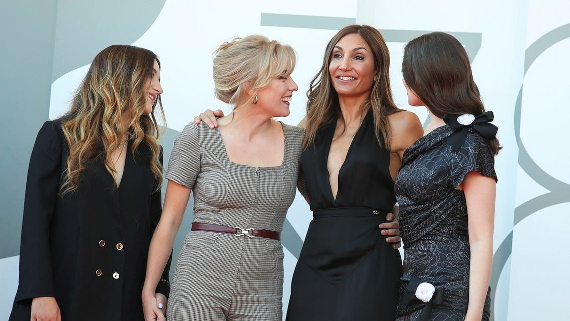 Director Audrey Diwan poses with cast members Luana Bajrami, Louise Orry Diquero and Anamaria Vartolomei. (Reuters)