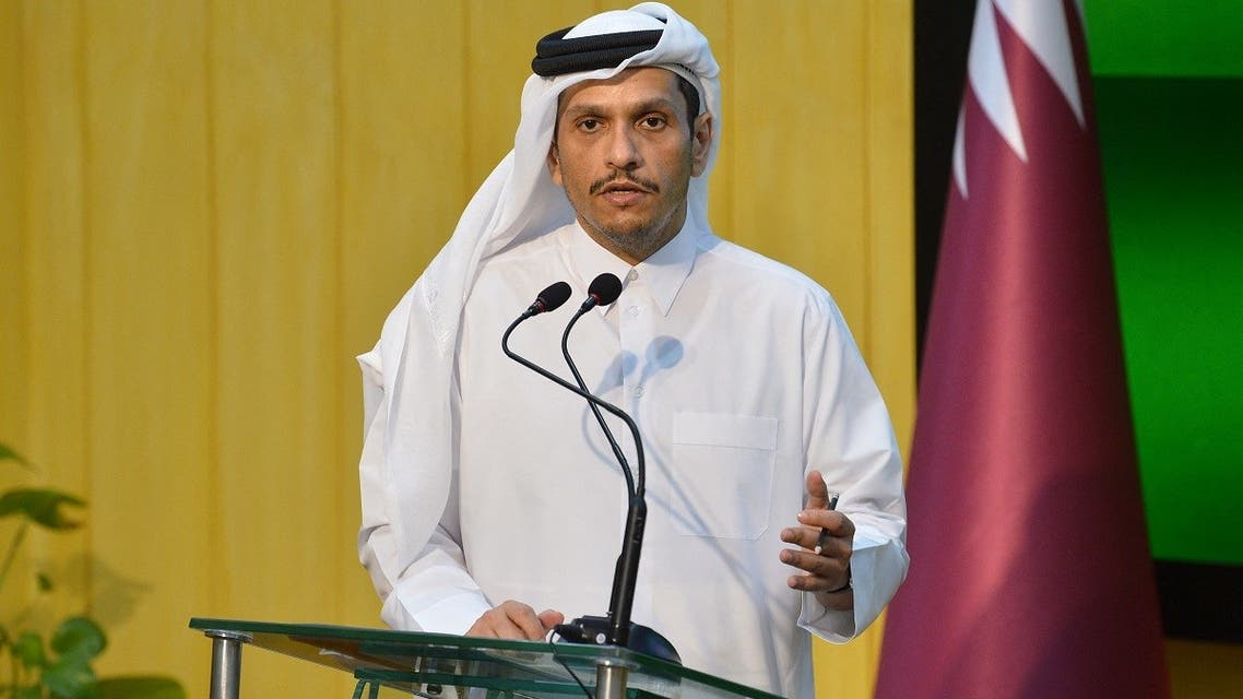 Qatar's Foreign Minister Sheikh Mohammed bin Abdulrahman al-Thani speaks during a press conference in Islamabad on September 9, 2021. (AFP)