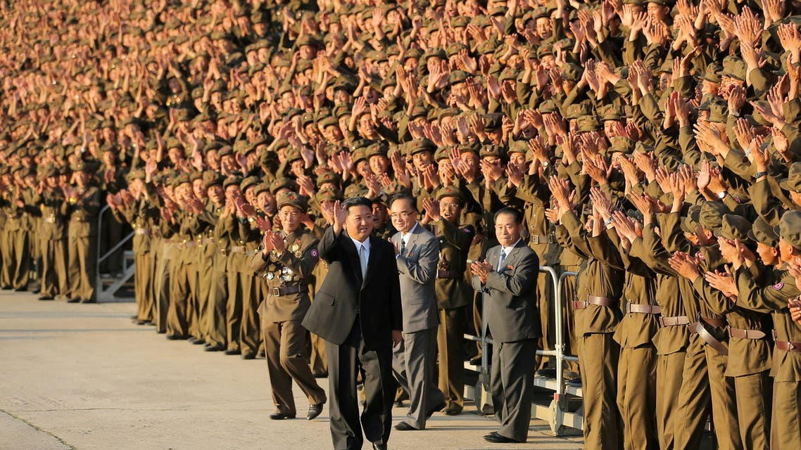 North Korean leader Kim Jong Un greets military members on the 73rd anniversary of the country's founding, in Pyongyang, in this undated image supplied by North Korea's Korean Central News Agency on September 9, 2021. (Reuters)