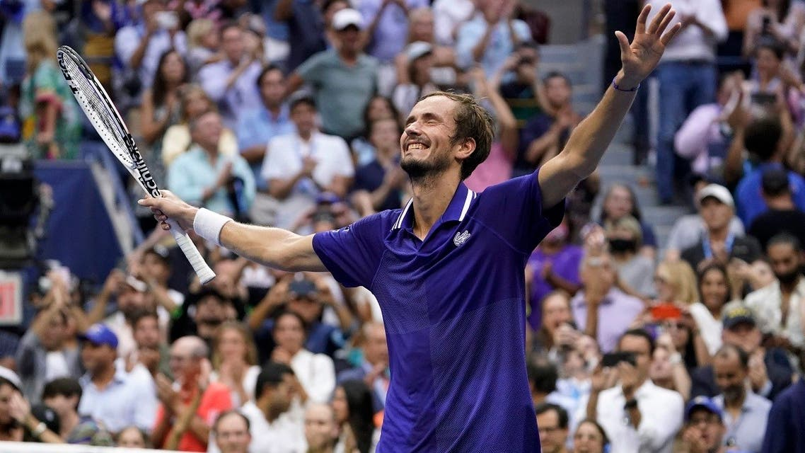 Daniil Medvedev, of Russia, reacts after defeating Novak Djokovic, of Serbia, during the men's singles final of the US Open tennis championships, Sunday, Sept. 12, 2021, in New York. (AP/John Minchillo)
