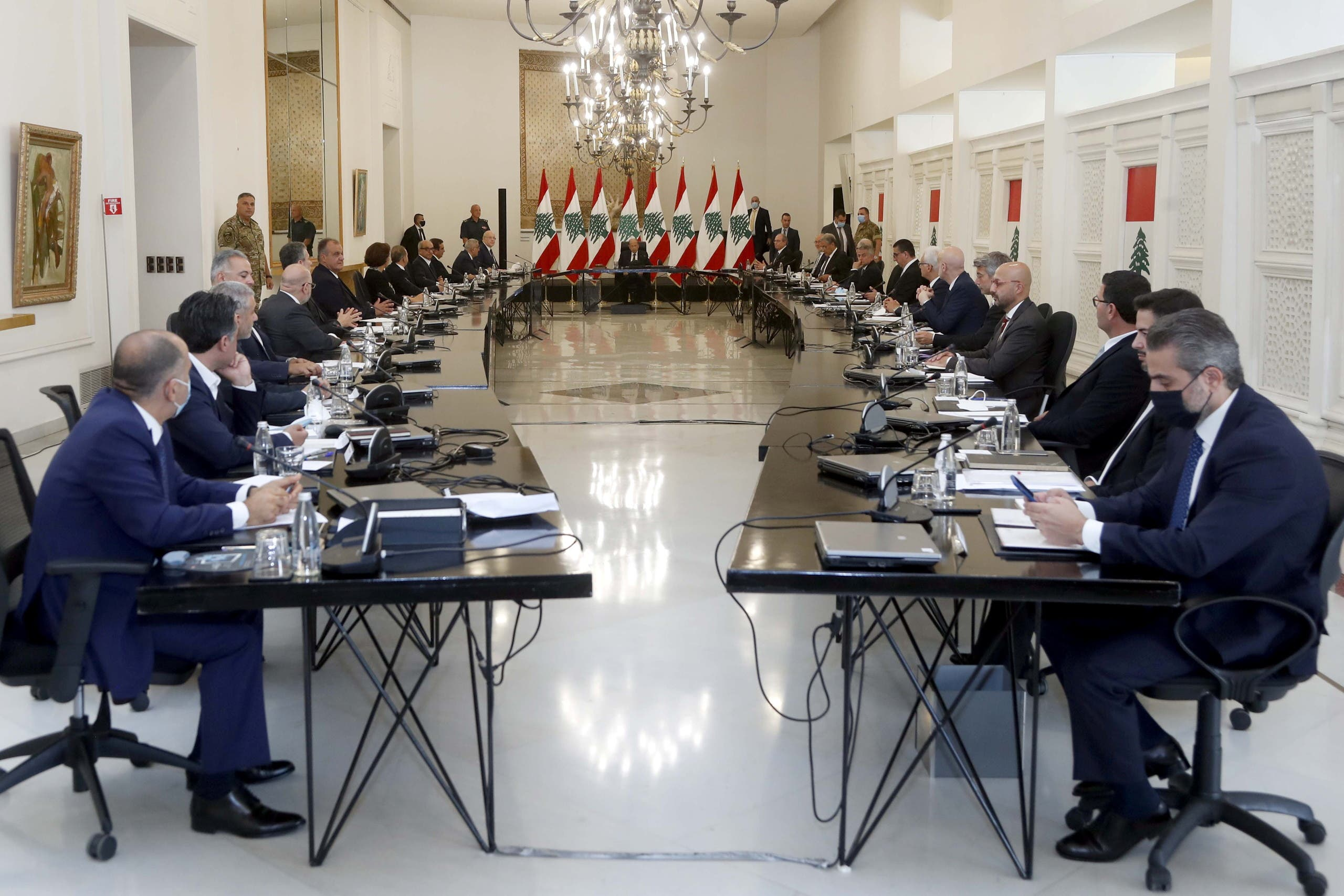 Lebanon's President Michel Aoun heads the new government's first cabinet meeting at the presidential palace in Baabda, Lebanon September 13, 2021. (Reuters)