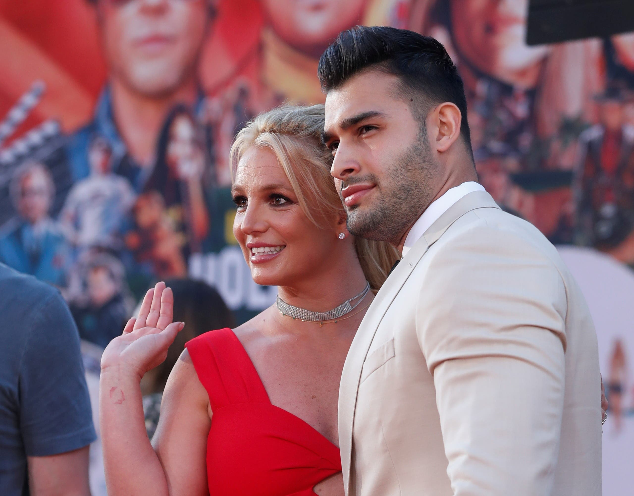 Britney Spears and Sam Asghari pose at the premiere of Once Upon a Time In Hollywood in Los Angeles, California, US, July 22, 2019. (File photo: Reuters)