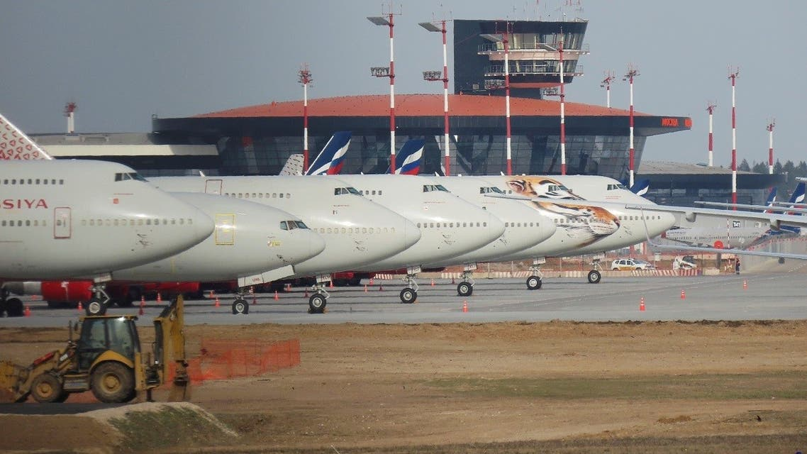 A file photo shows planes parked at Sheremetyevo International Airport, outside Moscow, Russia April 9, 2020 (Reuters/Tatyana Makeyeva)