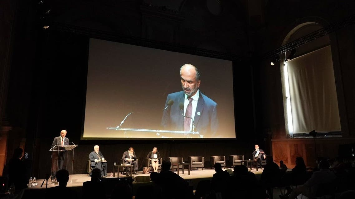 Ahmad Mohammed al-Jarwan, President of the Global Council for Tolerance and Peace in the UAE, speaks at the G20 Interfaith Forum in Italy. (Supplied: WAM)