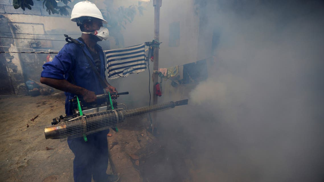 A health worker fumigates a residential area to curb the spread of dengue fever in Hodeidah, Yemen January 22, 2020. Picture taken January 22, 2020. (File photo: Reuters)