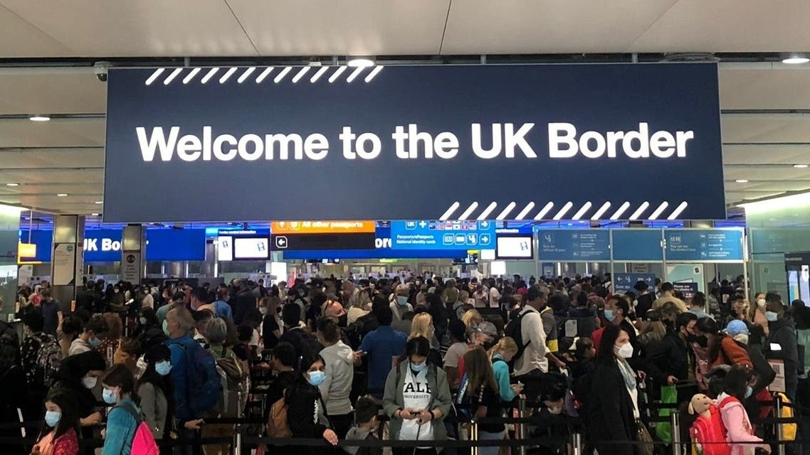 Queues of people wait in line at U.K. citizens arrivals at Heathrow Airport in London, Britain, September 1, 2021. (Reuters)