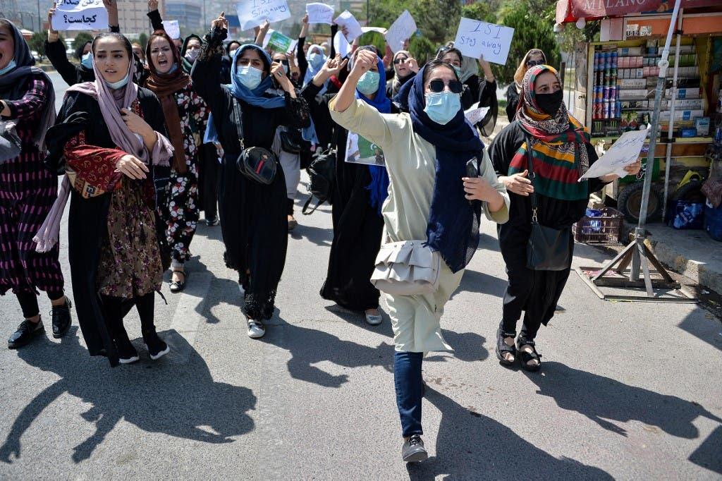 مظاهرات نسائية ضد طالبان في كابل (أرشيفية-  فرانس برس)