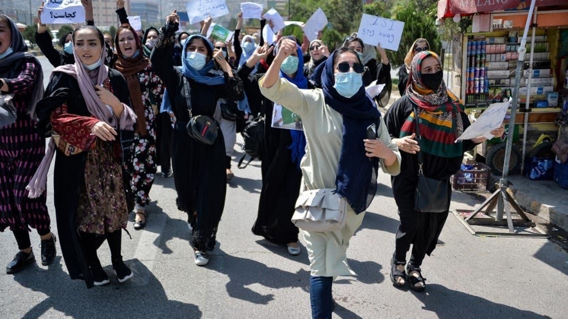 تظاهرات نسائية ضد طالبان في كابل (أ ف ب)