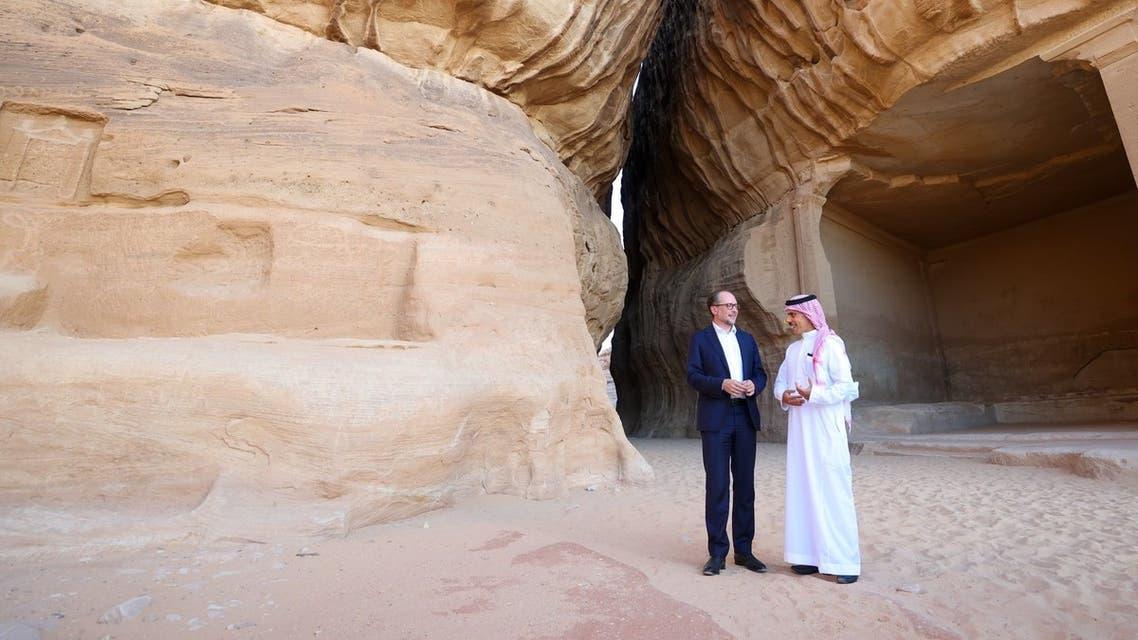 Saudi Arabia's Foreign Minister Prince Faisal bin Farhan and his Austrian counterpart Alexander Schallenberg tour Saudi Arabia's AlUla. (Saudi Foreign Ministry)