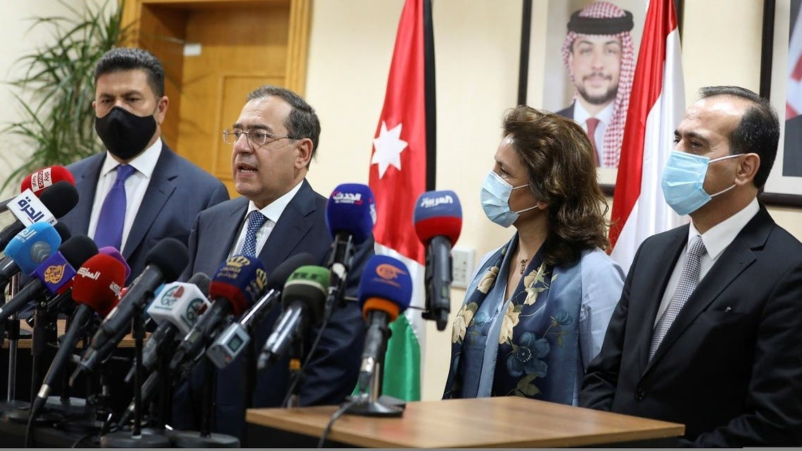 Egypt's Minister of Petroleum and Mineral Resources Tarek El-Molla speaks during a press conference with Lebanese and Syrian officials in Amman, Sept. 8, 2021. (Reuters)