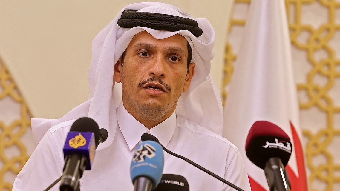 Qatari Foreign Minister Mohammed bin Abdulrahman al-Thani holds a joint press conference with his French counterpart (unseen) in Qatar's capital Doha, on September 13, 2021. (Karim Jaafar/AFP)