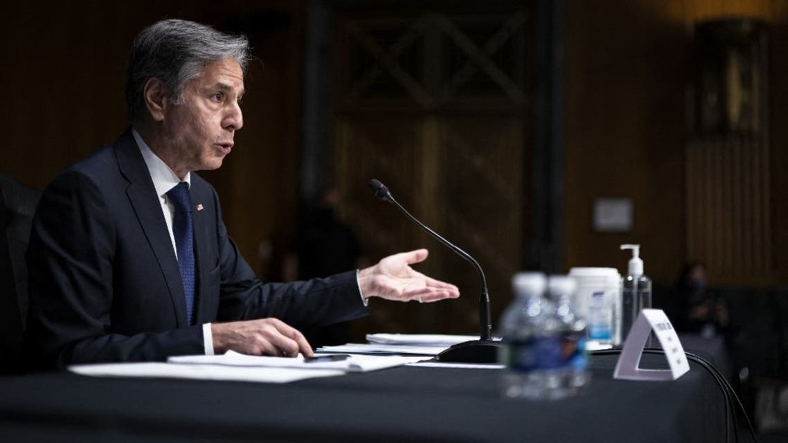 U.S. Secretary of State Antony Blinken testifies during a Senate Foreign Relations Hearing to examine the United States withdrawal from Afghanistan on Capitol Hill on September. 14, 2021 in Washington, DC. (AFP)