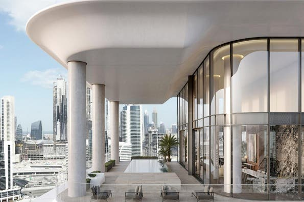The super triplex penthouse at the Dorchester Collection by Omniyat sold for $20 million. (Supplied: Luxhabitat)