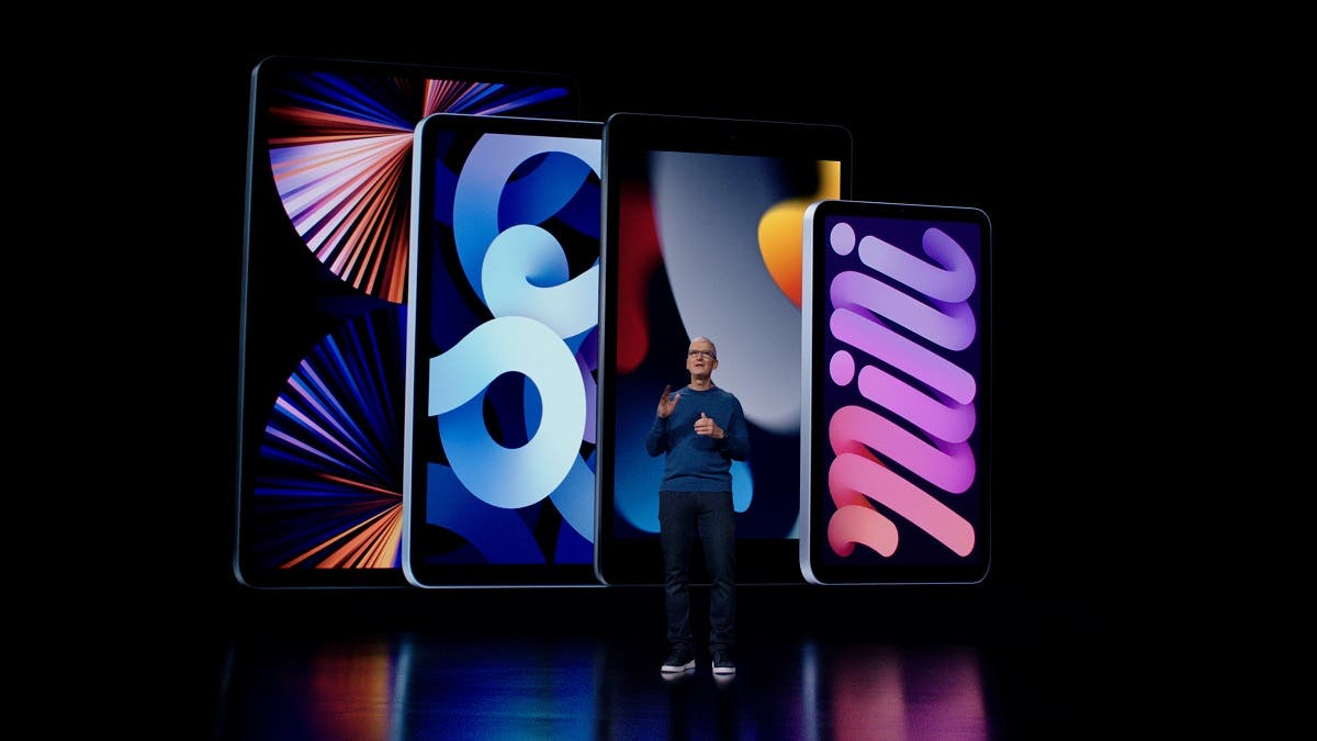Apple CEO Tim Cook introduces the latest iPad and iPad mini to the iPad lineup during a special event at Apple Park in Cupertino, California broadcast September 14, 2021. (Brooks Kraft/Apple Inc/Handout via Reuters)