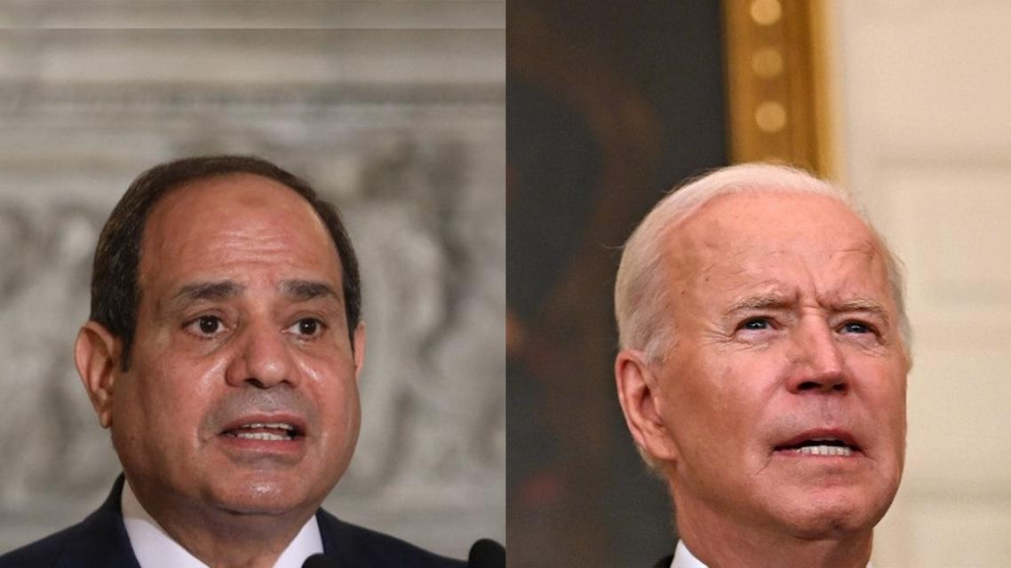 A combination picture of Egypt's President AbdelFattah Al Sisi (L) and US President Joe Biden (R). (AFP)