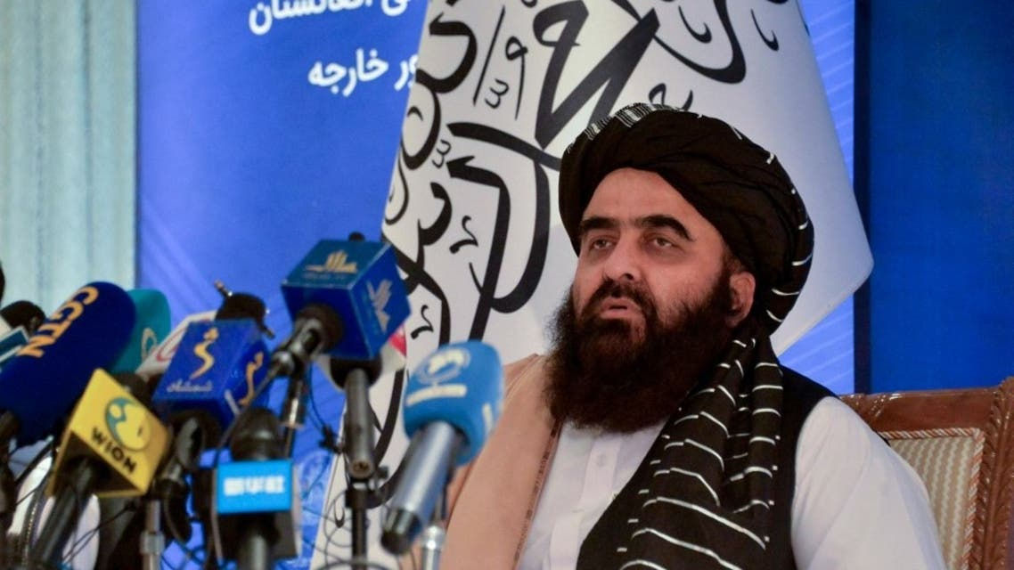 Afghanistan's Foreign Minister Amir khan Muttaqi speaks during a press conference at the Foreign Ministry of Afghanistan in Kabul on September 14, 2021. (AFP)