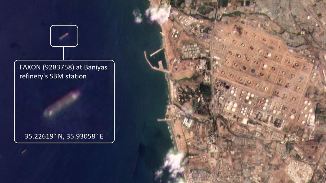 The Iranian handysize tanker FAXON (9283758) is discharging 33,000 metric tons of gasoil. (Screengrab: Tanker Trackers)