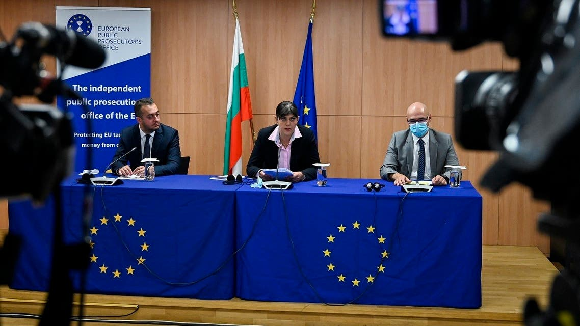 European Chief Prosecutor of European Public Prosecutors' Office (EPPO) Laura Codruta Kovesi (C) speaks during a press conference at the House of Europe in Sofia on June 11, 2021. (Nikolay Doychinov/AFP)