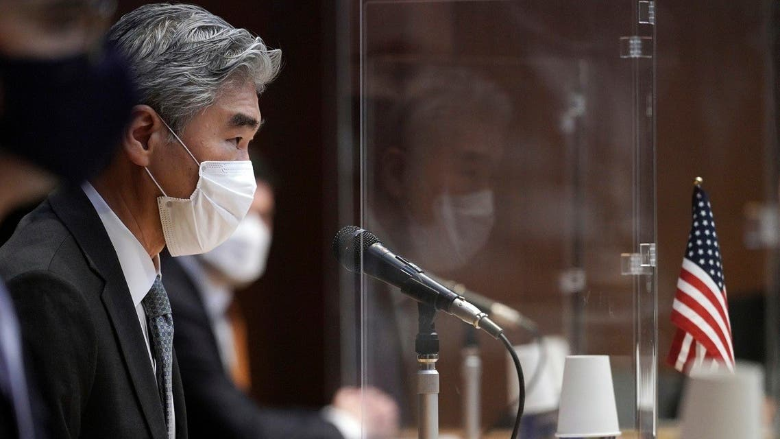 US Special Representative for North Korea, Sung Kim, speaks during a trilateral meeting at the Japanese Foreign Ministry Tuesday, Sept. 14, 2021 in Tokyo. (AP/Eugene Hoshiko)