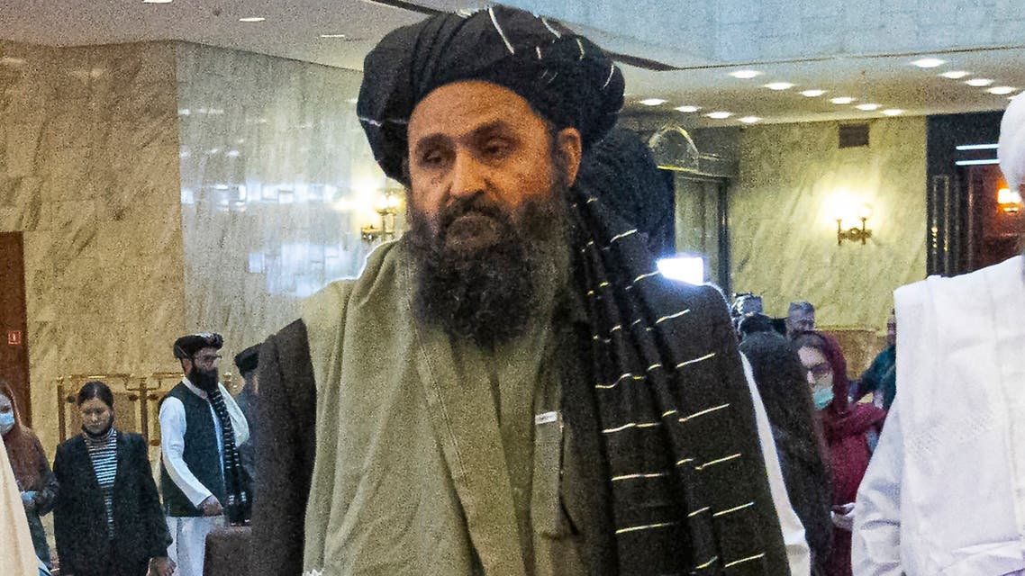 In this March 18, 2021, file photo, Taliban co-founder Mullah Abdul Ghani Baradar, arrives with other members of the Taliban delegation for an international peace conference in Moscow, Russia. (AP)