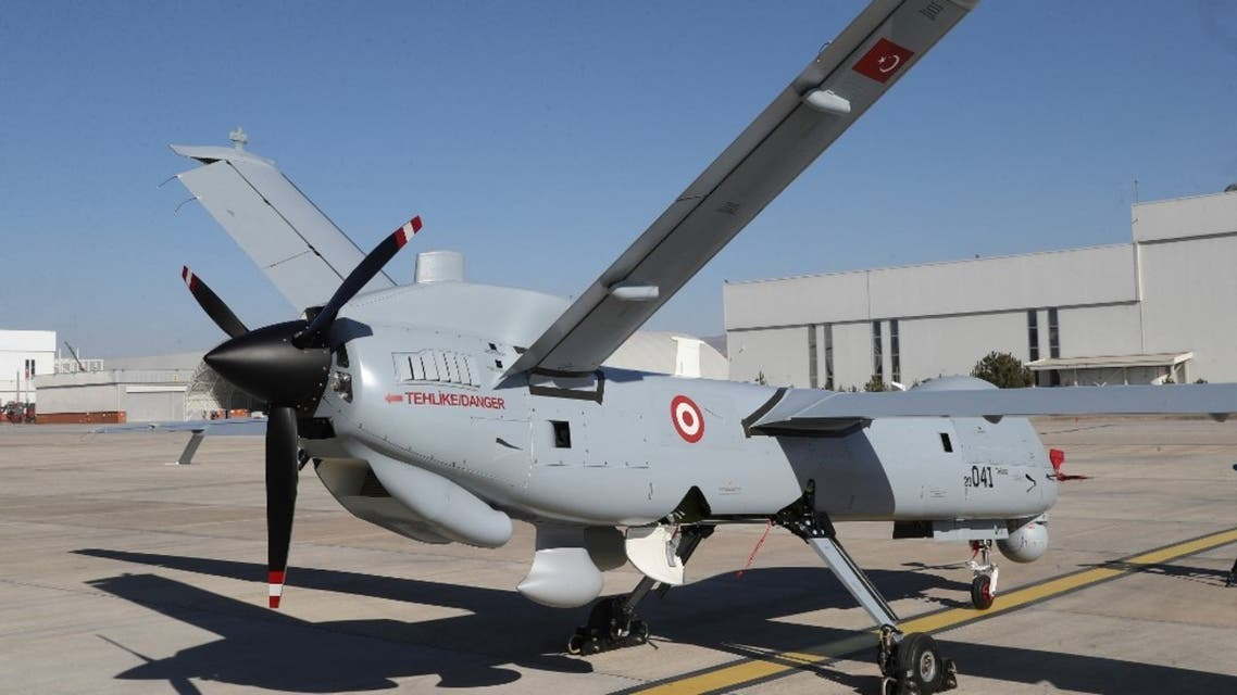 The Anka Drone, 8.6 metres long and with a wingspan of 17.6 metres, manufactured in Turkish Aerospace's huge, ultra-secure facilities in Ankara. (AFP)