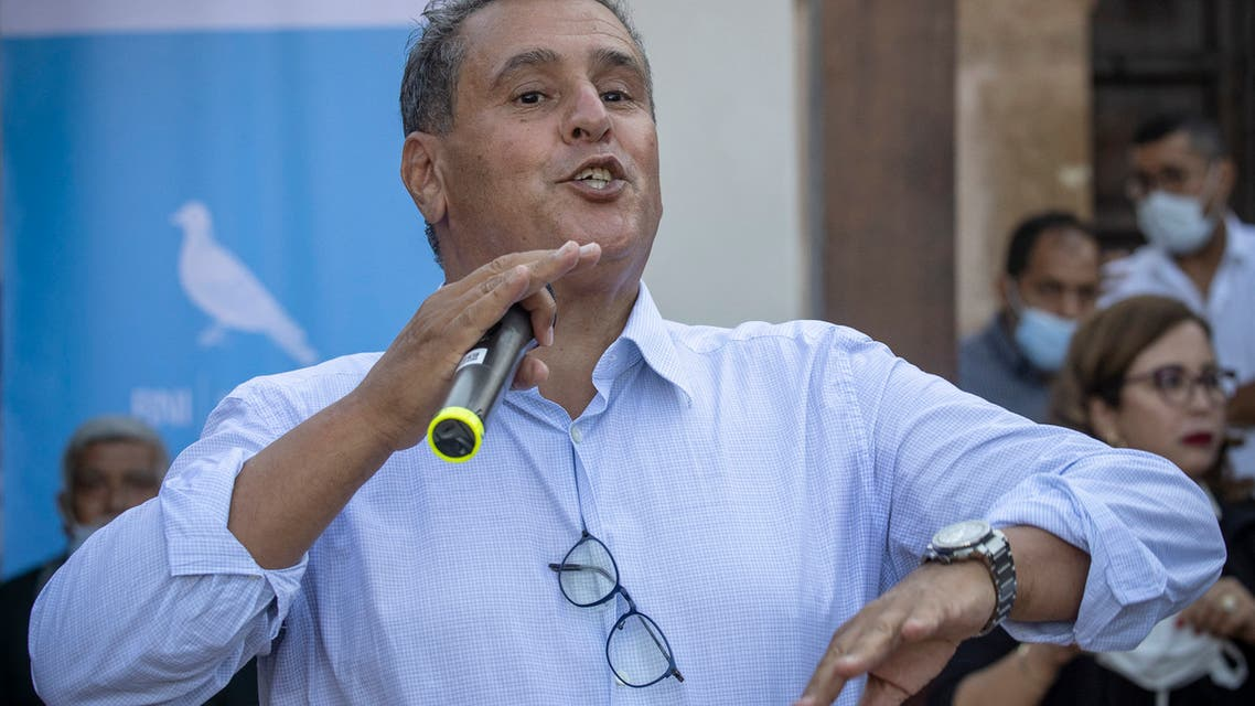 Aziz Akhannouch, the president of the national Rally of Independents (RNI), speaks during a campaign meeting in the Oudaya Kasbah in the capital of Rabat on September 2, 2021, ahead of Morocco's September 8 general elections. (AFP)