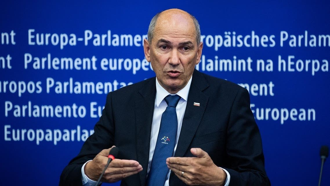 Slovenian PM Janez Jansa attends a press conference after the presentation of the program of the activities of the Slovenian Presidency during a plenary session at the European Parliament in Strasbourg, on July 6, 2021. (Patrick Hertzog/AFP)