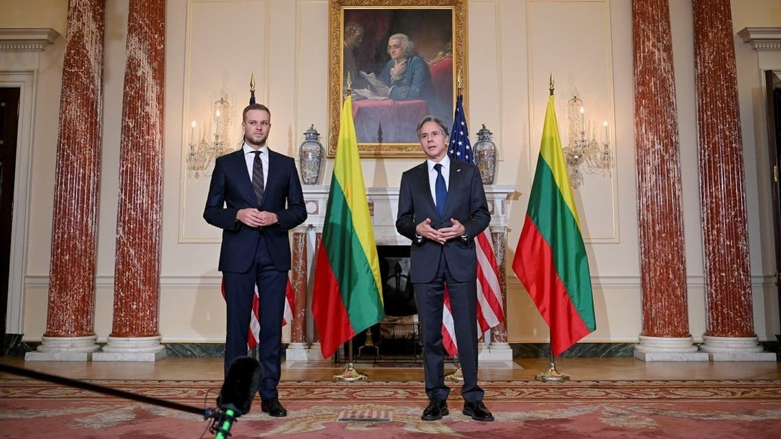 Secretary of State Antony Blinken next Lithuania's FM Gabrielius Landsbergis in Washington, Sept. 15, 2021. (Reuters)