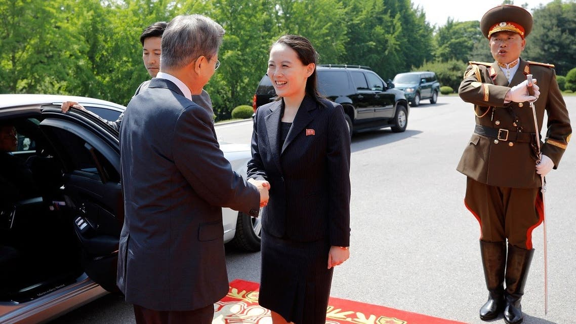 A file photo taken on May 26, 2018 shows South Korea's President Moon Jae-in (L) shaking hands with Kim Yo Jong (2nd L), sister and close adviser to North Korea's leader Kim Jong Un, before the second summit with Kim Jong Un at the north side of the truce village of Panmunjom in the Demilitarized Zone (DMZ). (Handout/Dong-A Ilbo/AFP)