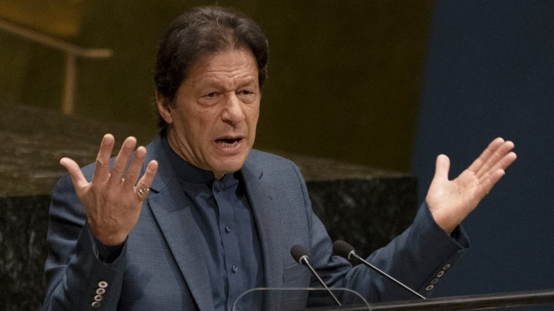 Pakistani Prime Minister Imran Khan speaks during the 74th Session of the General Assembly at UN Headquarters in New York on September 27, 2019. (AFP)