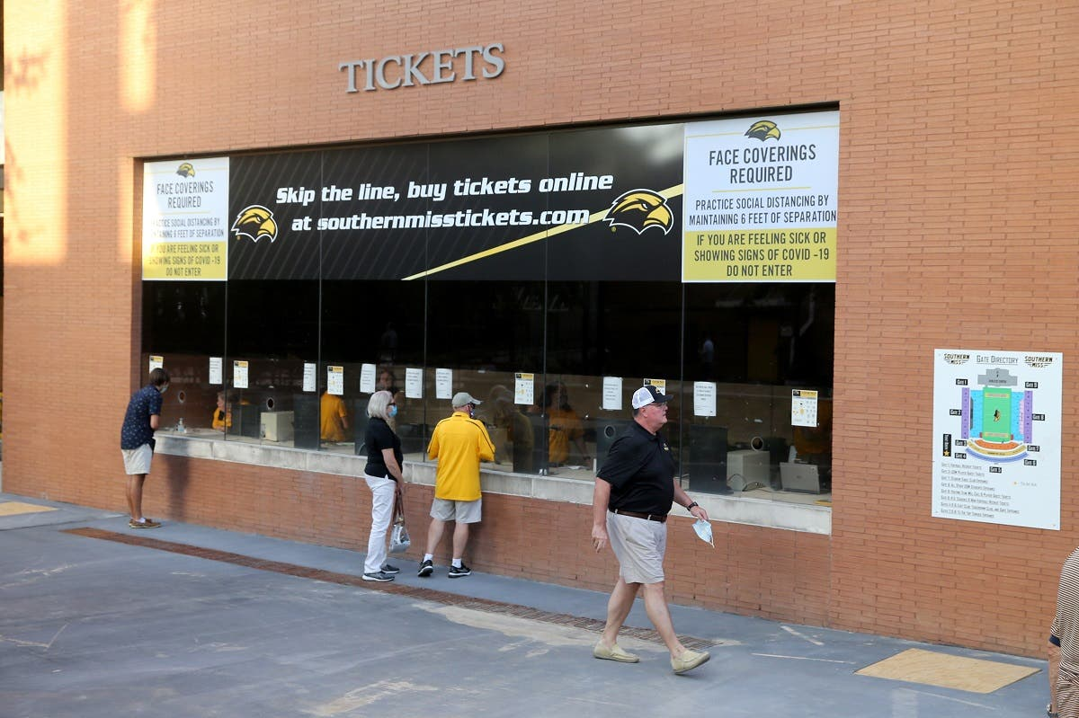 A general view of the ticket office with COVID signage at M. M. Roberts Stadium before the game between the Southern Mississippi Golden Eagles and the South Alabama Jaguars. (Mandatory Credit: Chuck Cook, USA TODAY Sports via Reuters)
