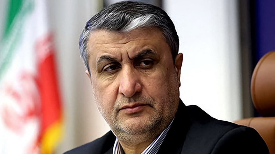 his file handout picture provided by the Iranian presidency on August 29, 2021 shows Iran's chief of the nuclear program, Mohammad Eslami, looking on in the capital Tehran. (AFP)