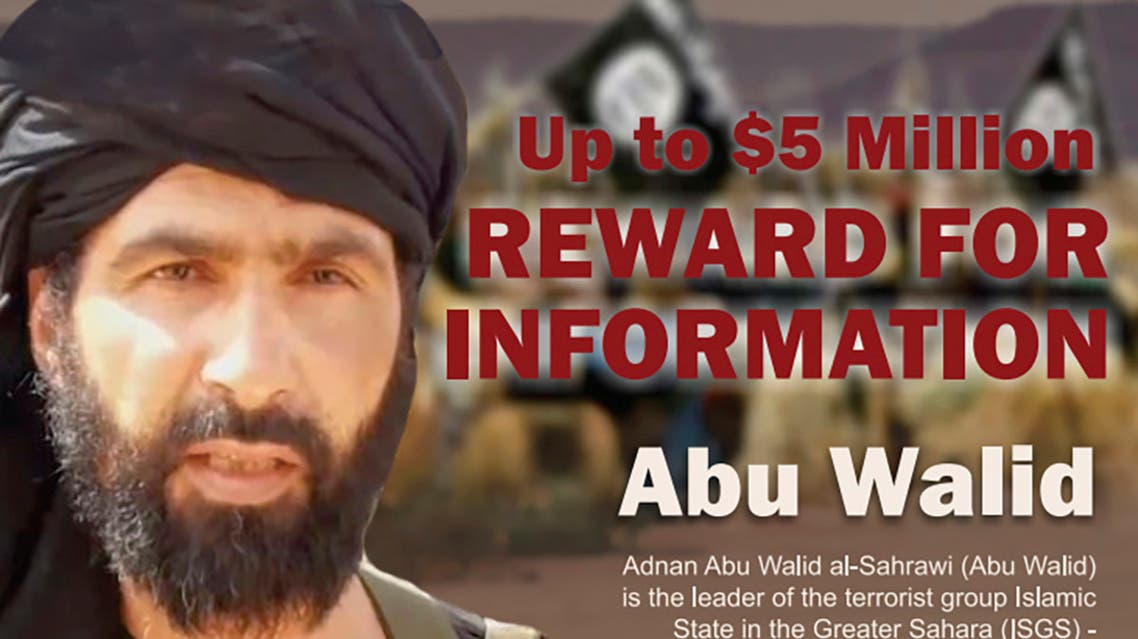 This undated image provided by Rewards For Justice shows a wanted posted of Adnan Abu Walid al-Sahrawi, the leader of Islamic State in the Greater Sahara. French President Emmanuel Macron announced the death of al-Sahrawi Wednesday, Sept. 15, 2021. (AP)
