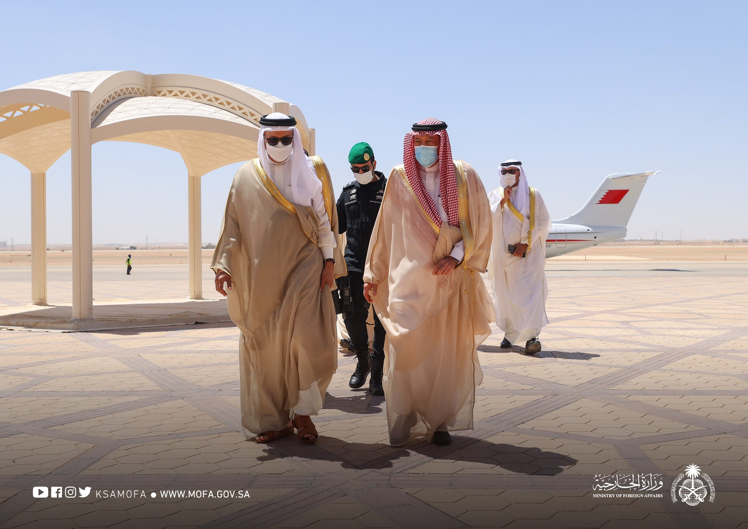 Saudi Arabia's Deputy Minister of Foreign Affairs Waleed al-Khuraiji receives Bahrain's Minister of Foreign Affairs. (KSAMOFA)