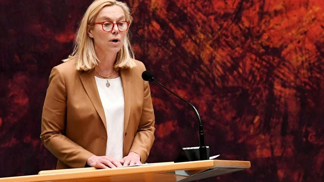 Sigrid Kaag, Dutch minister for foreign trade and development cooperation, speaks in The Hague, Netherlands April 2, 2021. (Reuters)